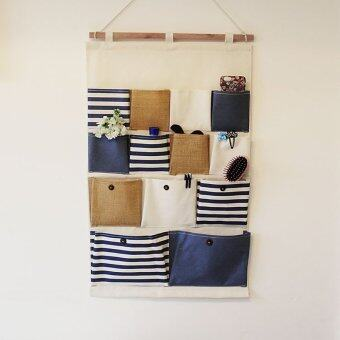 Harga Cotton and linen Storage Bag 13 Pocket Multi-layer Wall Hanging Bags