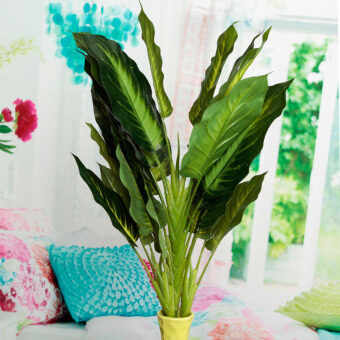 Harga Evergreen Artificial Plant Bush Potted Tree Flower Home Lifelike 25 Leaves