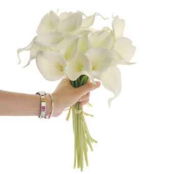 Harga HL Real Touch Artificial Pu Calla Lily Flower Bouquets Bridal Wedding Bouquets - 20 Pcs/Bundle White
