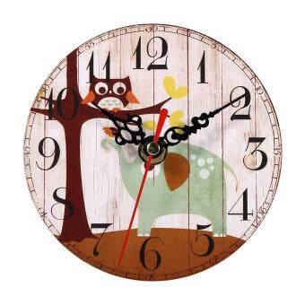 Harga Retro Creative Antique Wall Clock Vintage Style Wooden Round Clocks Home Office Decoration (#1)