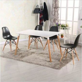 Harga Home & Living: Set of Simple Eames Dining Table with 4 Creative Curvy Eames Designer Chairs [Black]