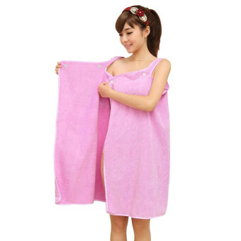 Harga Whyus-Women Wearable Bath Sexy Washcloths Bath Body Towel Comfortable Beach Spa Swim Towels Bathrobe(Purple)