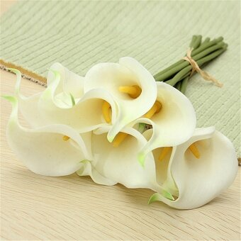 Harga 10Pcs Artificial Latex Calla Lily Flowers Bouquet Wedding Bridal Garden Home Decor