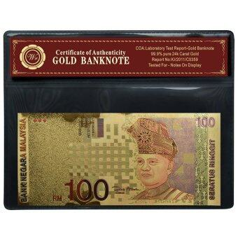 Harga Malaysia RM100 24k Gold Banknote Colored 100 Ringgit Collectible With COA Folder