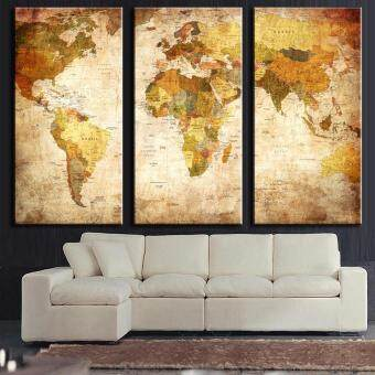 Harga High Quality Canvas Art 3 Panel Vintage World Map Painting Picture Living Room Bedroom Decor Wall Art Gift
