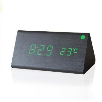 Harga New Wooden LED Alarm Clock Despertador Temperature Sounds Control LED Display Electronic Desktop Digital Table Clocks