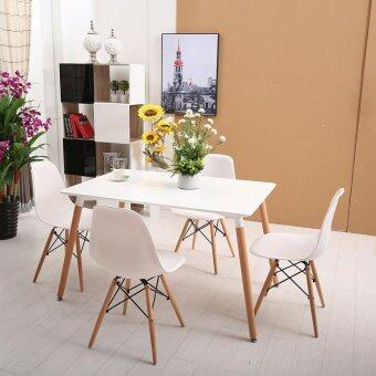 Harga Home & Living: Set of Simple Eames Dining Table with 4 Creative Curvy Eames Designer Chairs [White]