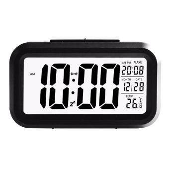 Harga New Modern Large-Display Digital Alarm Clock LED with Calendar Electronic Desk Table Clocks