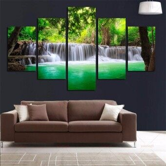 Harga 5Pcs Waterfall Landscape Abstract Canvas Painting Modern Home Decor Unframed