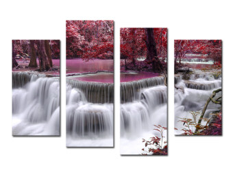 Harga 4 Piece Mangrove With Waterfall Modern Home Wall Decor Canvas Picture Art HD Print Painting Set of 4 Each Canvas Arts Unframed (No frame)