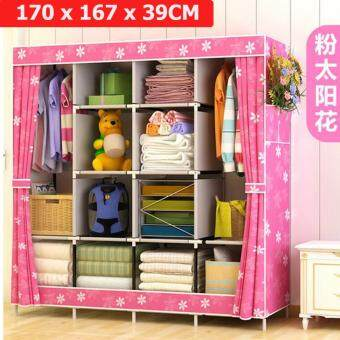 Harga Le Huo Shi Guang GY-49 High Quality Side open Curtain King Size DIY Modern Multifunctional Cloth Wardrobe