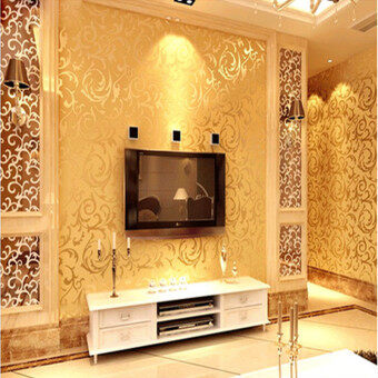 Harga Wallpaper Roll Damask Textured Embossed Home Decor 10M (Gold)