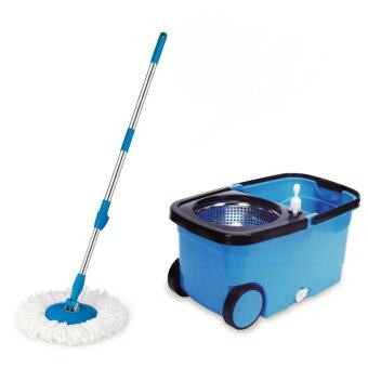 Harga Easy Spin Mop with wheels & stainless steel basket (Blue)