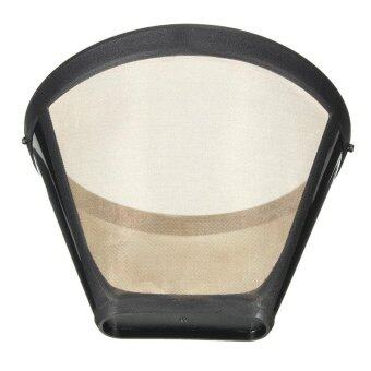 Harga Reusable Coffee Filter Permanent Cone-Style Coffee Maker Machine Filter Gold Mesh With Handle Cafe Coffees Tool