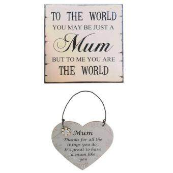 Harga MagiDeal 2pcs /Set Mum Wooden Plaque Signs Board Reminder for Mother's Day MOM Gifts