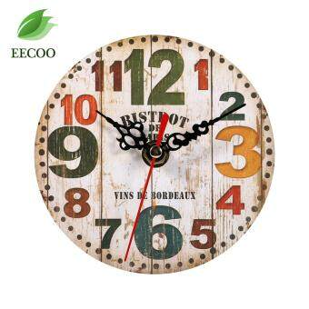 Harga Creative Antique Wall Clock Vintage Style Wooden Round Clocks Home Decoration (#3)