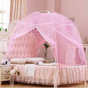 Harga 120X200cm Dome Luxury Princess Four Corner Bed Canopy Mosquito Net Bedding Canopy Mosquito Netting+Bracket- Single Bed Mosquito Net(pink)