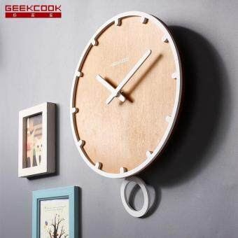 Harga Swing large wall clock modern design 3d vintage frameless wall clock living room craft set clocks Wooden White 12 inch clock