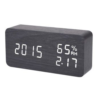 Harga Digital LED Alarm Clock Sound Voice Control Light Digital LED Time Humidity Display Black Wooden Alarm Clock Electronic Clocks Desk