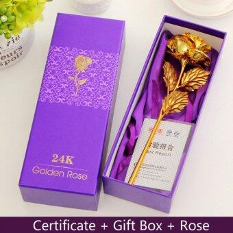 Harga 24K Gold Foil Plated Rose Craft Flower Floral Gift for Valentine's Day Birthday Mothers Day (Gold)