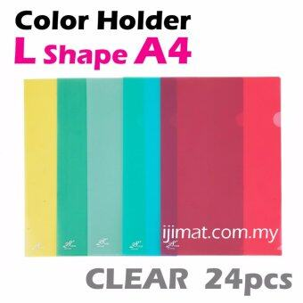 Harga L Shape Clear Colour Folder / Transparent Holder File A4 Size / PP L Shape Document Holder 24pcs Colour Each Pack - I JIMAT