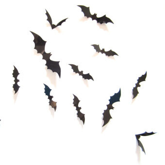 Harga Home Decor 3D Wall Sticker 12 Bats for Halloween Decoration