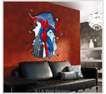Harga Wall Sticker - 3D Spiderman Breaking The Wall