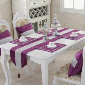 Harga Table Runner Flannel Diamond Table Cloth Table Decoration Home Decoration Purple S