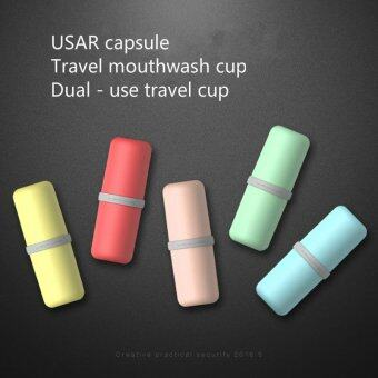 Harga USAR Capsule Travel Mouthwash Cup Portable Toothbrush Cups Toothpaste Storage Box Couples Dual - Use Travel Cup
