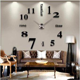 Harga Quartz clocks fashion watches 3d real big wall clock rushed mirror sticker diy living room decor