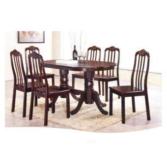 Harga SG TAN MODERN DINING SET ( 1pcs Dining Table + 6pcs Chairs)