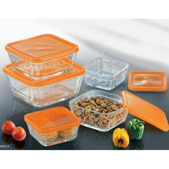 Harga 5pcs Glass Square Bowl With Lid (Orange Kosmos)