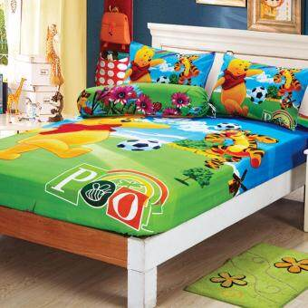 Harga Queen Size Fitted Cotton Bedsheet Set Winnie the Pooh Printing Design