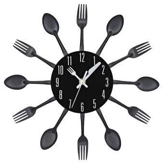 Harga Home Living Wall Clocks Multi-Color Fork Spoon Kitchen Cutlery Wall Clock Home Decor(Black)