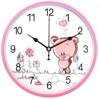Harga Quiet living room bedroom fashion clock clock simple creative children's cartoon clock compas clocks wall charts 26cm,Pink bear