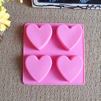 Harga 4-cavity Heart Silicone Mold | Chocolate Moulds | Jelly Molds | DIY Silicon Soap Molds