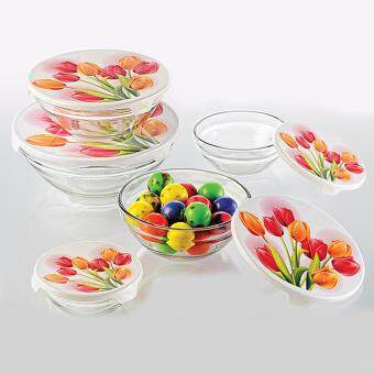 Harga 5pcs Glass Bowl With Lid - (Tulip Design)