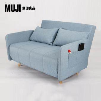 Harga Muji Style Simple Natural Linen Solid Wood 3 Seater Sofa Bed (Blue)