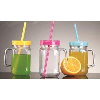 Harga Giacomo Tritan Plastic 0.5L Mason Drinking Jar with Straw - 3pc