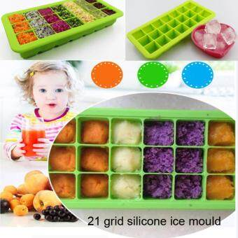 Harga Food Grade Silicone 21 Ice Moulds Healthy Ice Maker DIY Ice Cube Freeze Mold with Cover Ice Making Tray
