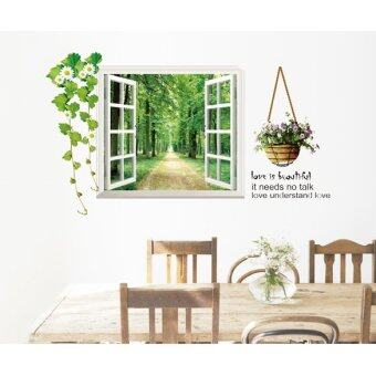 Harga Wall Stickers Tree-lined Trail Window Home Decor Removable Art Deco Mural