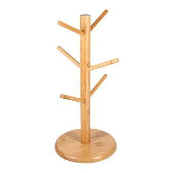 Harga Kitchen Creative Tree Shape Coffee Cups Draining Wood Storage Rack Hanging Holder w/ 6 Hooks