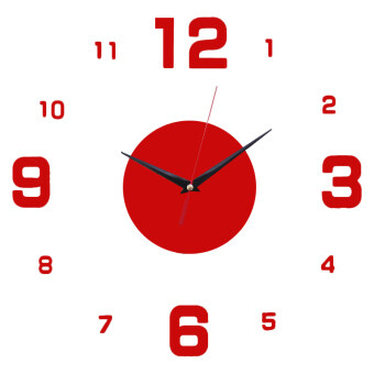 Harga Amart DIY Home Office Room Decor Clock Sticker Mute Wall Clock Decor Wall Sticker(Red)