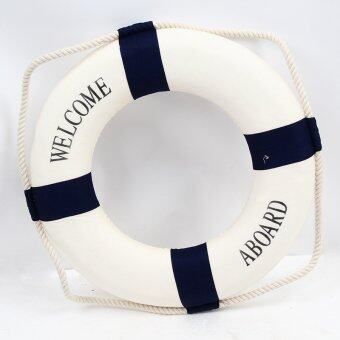 Harga Yingwei Hot Sale Welcome Aboard Cloth Navy Nautical Decor New ᄄC Decoration 25cm Buoy Mediterranean Style Artware Blue