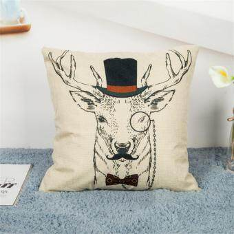 Harga Cotton Linen Home Decor Throw Wapiti Pillow Case Cushion Cover
