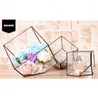 Harga Geometric Glass House Display Case Decoration-Square