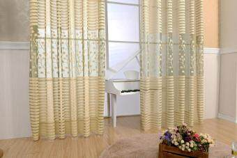 Harga 2PCS Tree leaf Tulle Door Window Curtain Drape Panel Sheer Scarf Valances (Size: 200x100cm, Color: Coffee)
