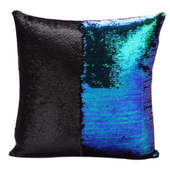 Harga Magic Reversible Mermaid Sequin Cushion Glitter Cover Throw Pillow Case Two - color sequins pillow sets of embroidered, Black&Green