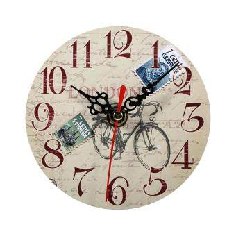 Harga Creative Antique Wall Clock Vintage Style Wooden Round Clocks Home Office Decoration (#4)