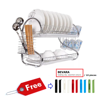 Harga 2 Layer S - Shaped Dish & Utensils Drainer Rack with free IKEA Bevara Sealing Clip